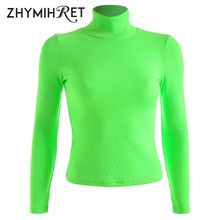 Neon Color Long Sleeve Turtleneck Ribbed T-Shirt  For Women