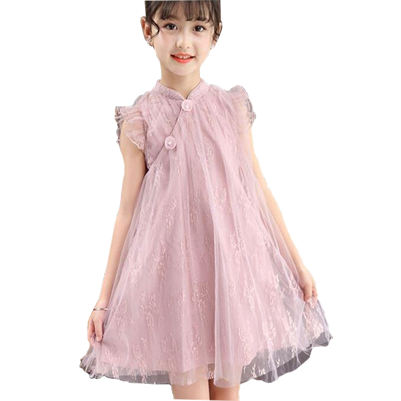 Vintage Cheongsam Princess Dress for Baby Clothing Summer 3-8Y Kids Ruffle Sleeve Shirts Dress for Girs Lace Casual Dresses