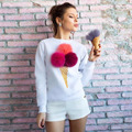 Mujeres calientes sudaderas con capucha de la primavera Sudadera Con Capucha 3D Dimensional Pompón Cerezas Helado Colorido Bola de la Piel de Las Mujeres Pullover svitshot