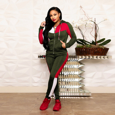 2019 hotselling Casual hooded sports suit Top And Pant Two Piece Sets striped stitching long sleeve two piece suit in Women 39 s Sets from Women 39 s Clothing