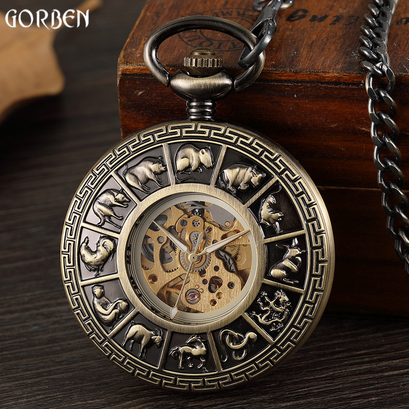 Watches Fanala 2017 Retro Vintage Style Bronze Steampunk Quartz Necklace Pendant Chain Clock Chinese Zodiac Pocket Watch Beautiful In Colour