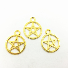 20Pcs Glod Plated Pendants For Necklaces Round Star Pentagram Metal Charms Bracelets Craft Jewelry DIY Accessories 25x20mm