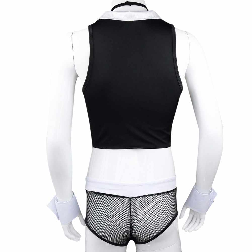 ... Gay Mens Sexy Maid Role Play Costume Outfits Tops Boxer Underwear with  Collar Handcuffs Lingerie Cosplay ...