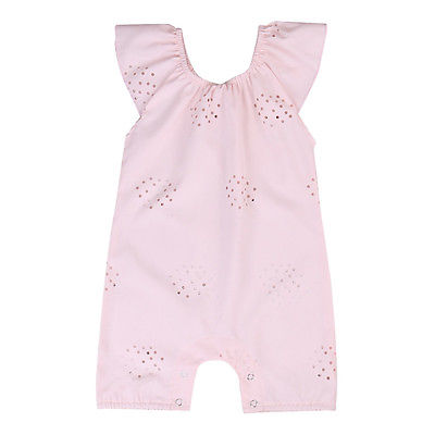 Summer 2017 Adorable Infant Baby Girls Floral Hollow Pink Romper Jumpsuit Sunsuit Clothes 0-24M