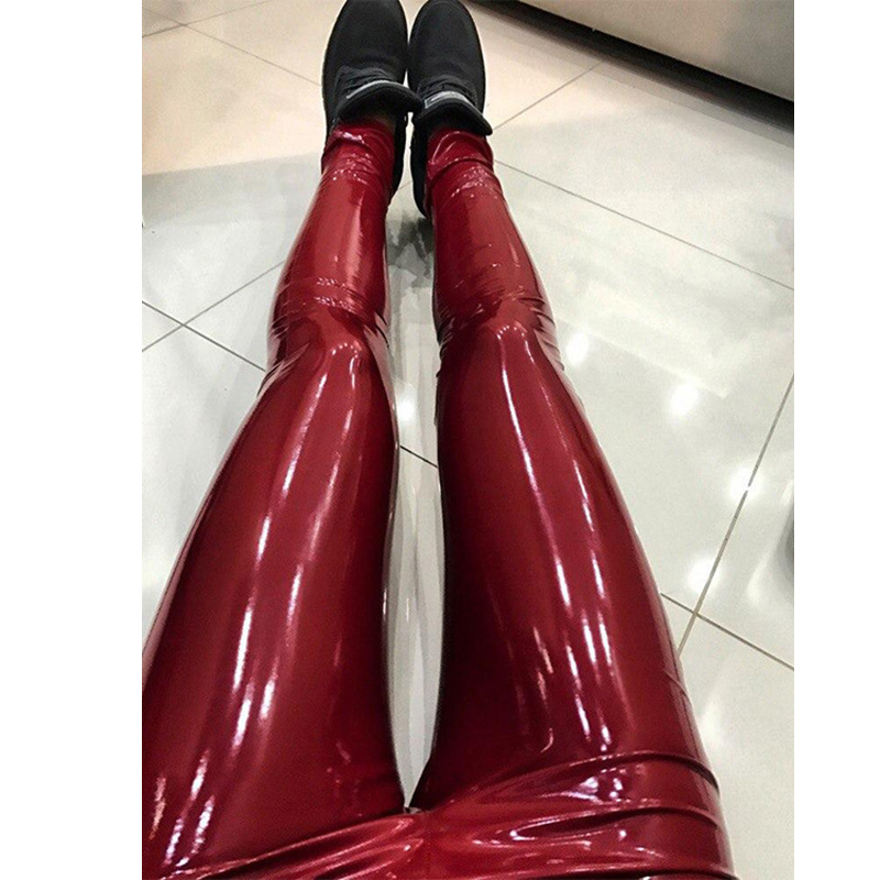 Women Lady Pants Trousers PU Leather High Waist Solid Color Fashion For Party XRQ88