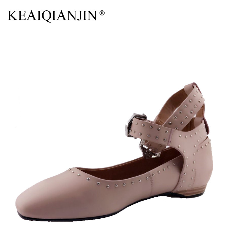 KEAIQIANJIN Woman Genuine Leather Oxford Shoes Spring Autumn Rivet Shoes Black Pink Flats Genuine Leather Gladiator Shoes 2017 keaiqianjin woman genuine leather shoes spring autumn black brown loafers shoes lazy plus size flats genuine leather loafers