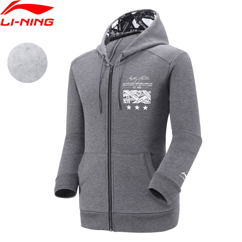 Li Ning Men The Trend Hoodie Regular Fit Fleece Warm 62 Cotton 38 Polyester LiNing Comfort