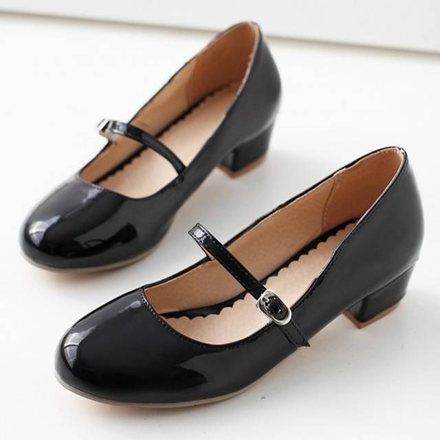 Meotina Women Shoes Low Heels Mary Jane Classics Ladies Shoes Pumps Autumn Round Toe Square Heels Female Solid Black Size 34-39