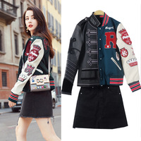 2019 The Same Asymmetrical Stitching Embroidery Baseball Jacket Jeans Half Coats Jackets Women Trending Products Women Gothic