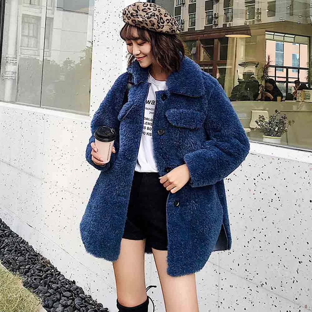 Manteaux Élégant Single 2 Couleurs Moutons Turn Ansfx Poilu Manteau blue down breasted White Collar Shaggy Tops Agneau Faux Blouse Longues Manches Fourrure De 8xRHd