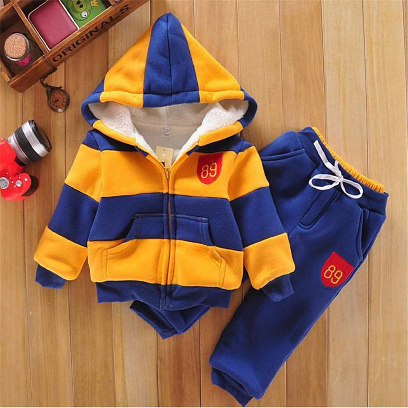 Boys Clothes Wool Sherpa Winter Warm Strpied Children Clothing Toddler Sets Autumn Kids Outfits Coat+Pants Hooded Baby Boy Suit boys trackpants kids winter pants children trousers full length boy harem pants children clothing brand boys clothes