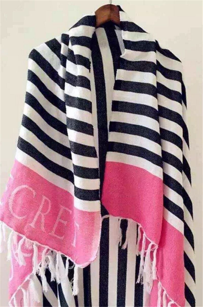 Pink VS Secret Fleece Blanket Red Stripes Beach Towel Brand Shawl Throw Plaids Portable Blanket 130x150cm/130x160/150x200cm Size