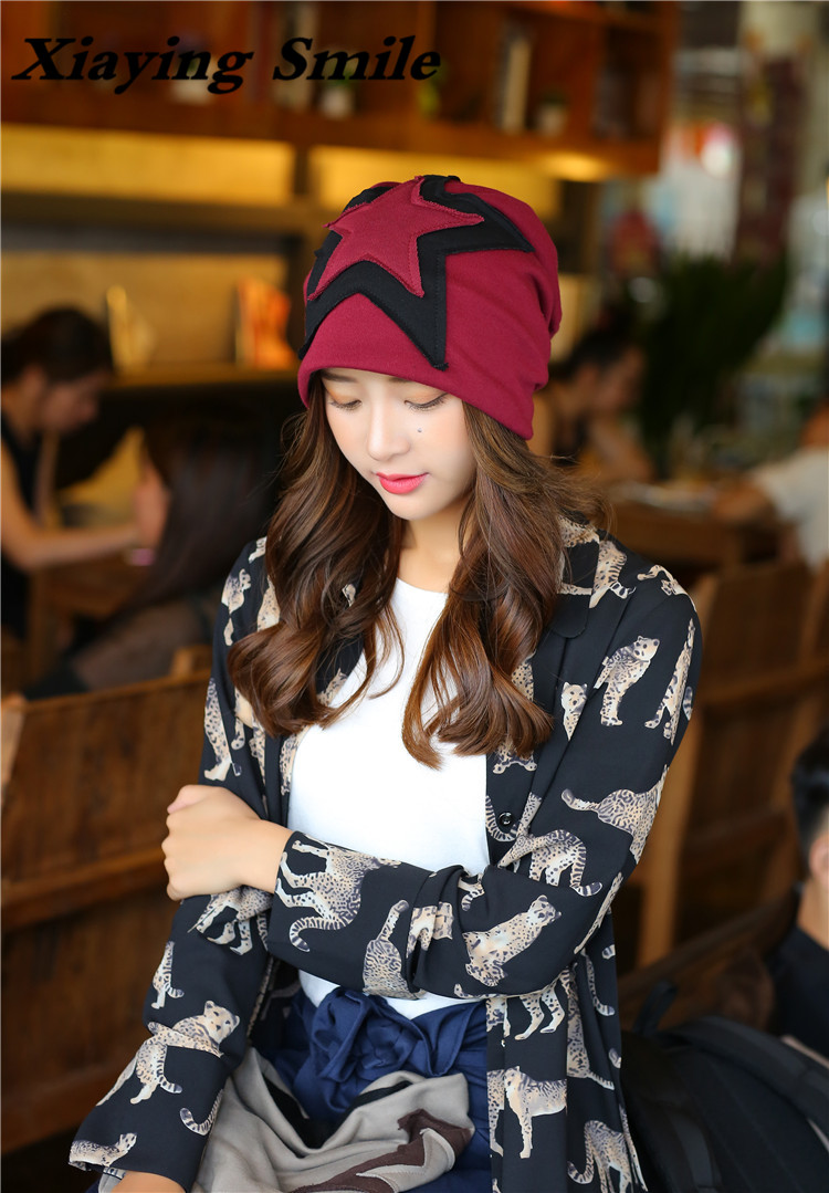 Xiaying Smile Fashioh Knitted Hat Men Woman Hip Hop casual Youth Skullies Beanie Double Star Set Cap In Warm Head Guard Baotou skullies hot sale candy colored knit cap sleeve head cap hip hop tide baotou cap 1866717