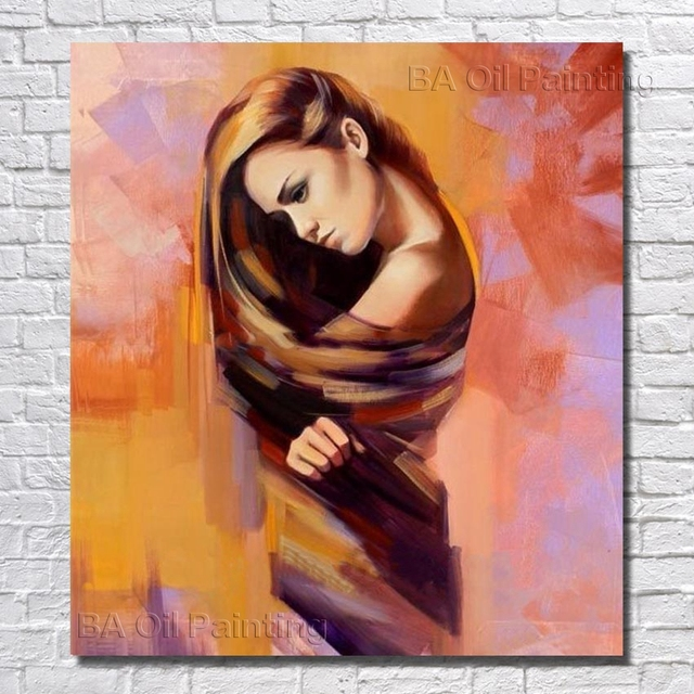 Free Shipping Beautiful Girl Oil Paintings Canvas Art Cheap Hand Painted  Paintings On Canvas Wall Decor No Framed NP032 b823eb90b