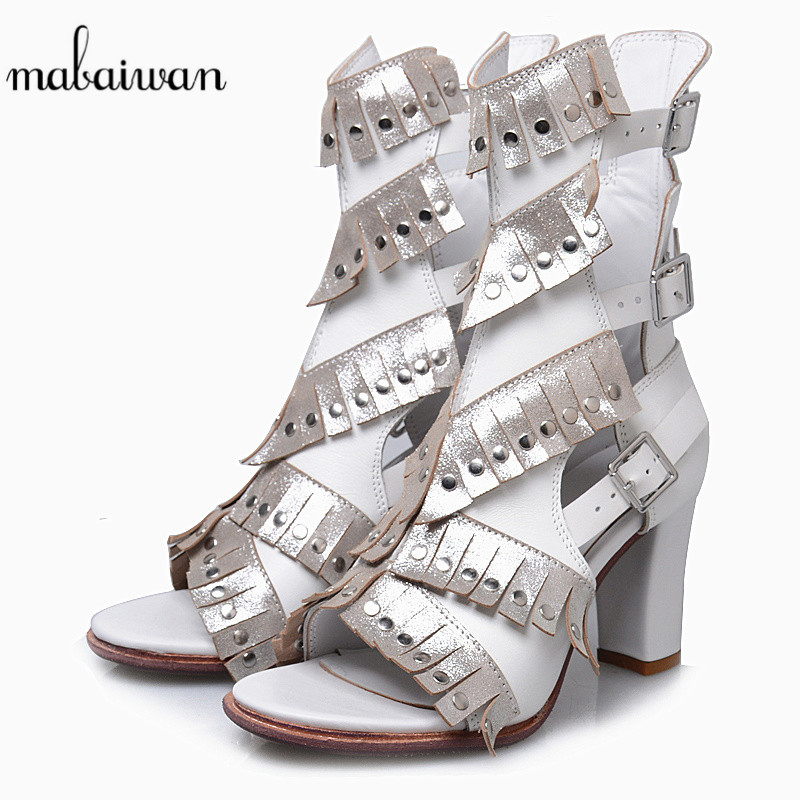 где купить Mabaiwan New Sexy Spring Summer Women Shoes Sandals Thick High Heels Casual Shoes Woman Boots Genuine Leather Opean Toe Pumps по лучшей цене