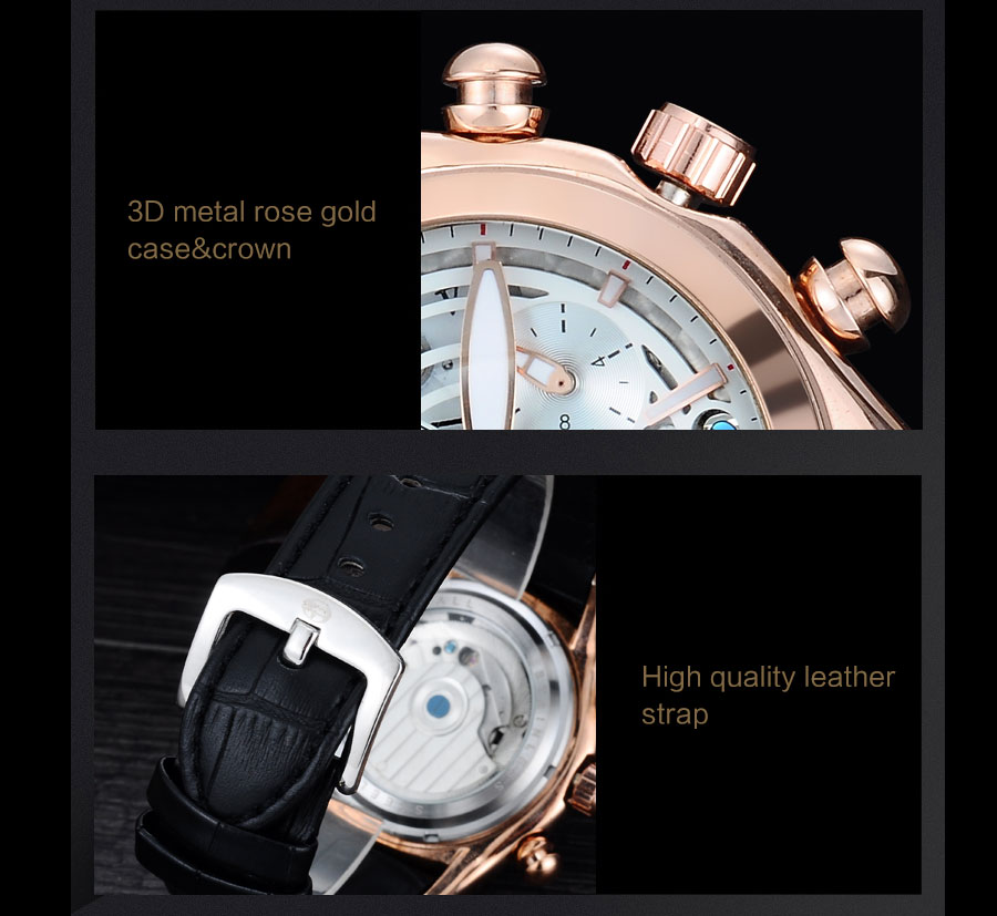 Forsining Convex Glass Stylish Tourbillion 3D Genuine Leather Strap Mens Watches Top Automatic Watch Clock (6)