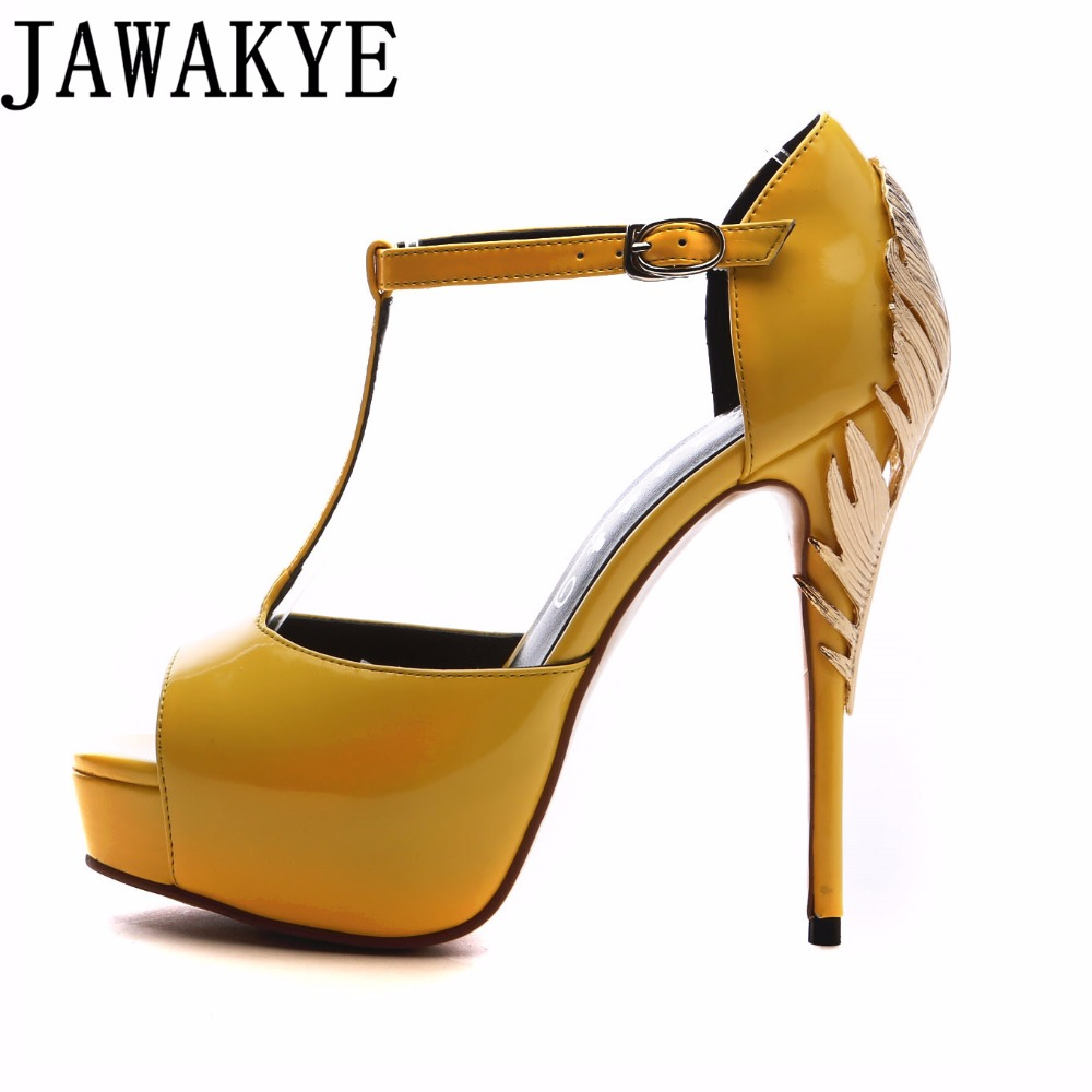 Big Gold metal leaf heel dress shoes women peep toe patent leather platform 14 cm high heels pumps 2018 summer party sandals цена