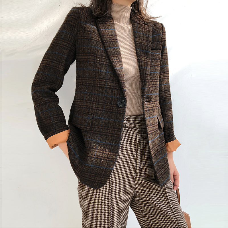 Blazers Wool Short Length Brown Blazer Plaid Single Button Notched Pockets Korean Full Sleeve Office Lady Women Clothes 2019