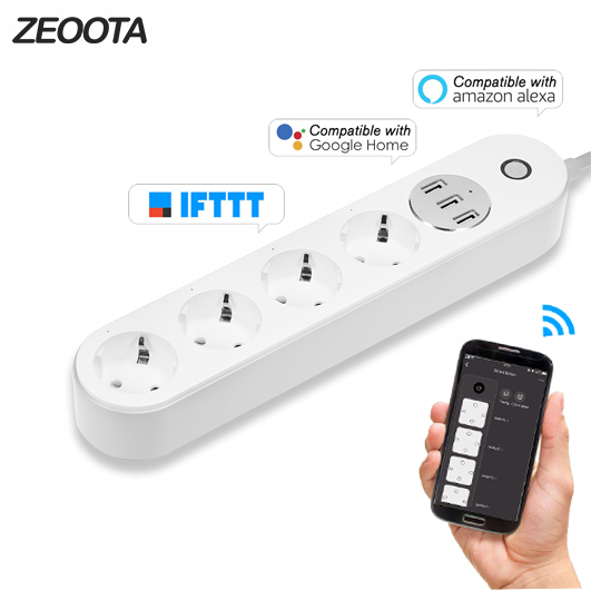 Remote Control Wi-Fi Surge Protector with 3 AC Outlets and 4