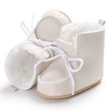 a2b24076c649b Blanc D hiver Bébé Chaussures Bottes Infantile Chaussons Chauds Laine Neige  Filles Sneakers Coton Garçon Haute Top Pantoufles Po.