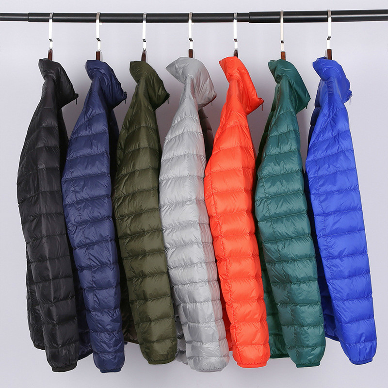 [Aiweier] Ultralight Men's Solid White Duck   Down   Jackets Male Stand   Down     Coats   Garment Over size Hooded Outwear For Men Clothes