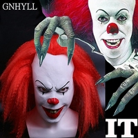 GNHYLL Red Hair Scary Latex 1990 Stephen King's It Clown Pennywise Costume Party Mask Dress Funny Cosplay Joker Clown Masks