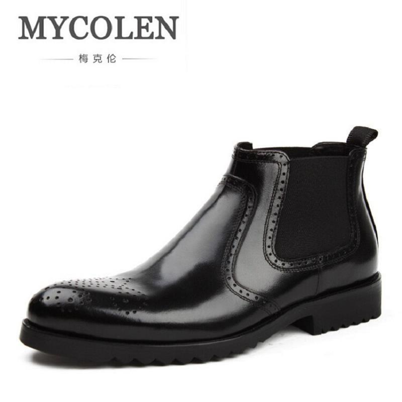 Mycolen 2017 New Vintage Style Chelsea Boots Top Quality Leather Men Shoes Luxury Brand Bullock Carving Men Boot Bota Masculina relikey brand men dress shoes handmade genuine cow leather top quality brogue shoes lace up new big size bullock style shoes men