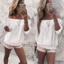 Sexy Off Shoulder Blouse Women 2019 Summer Floral Lace Slash Neck Drawstring Shirts Lady Casual Loose White Tops Plus Size plus lace panel floral blouse