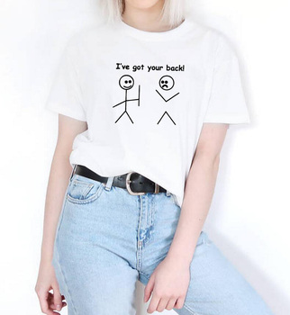 I Ve Got Your Back Print Summer T-shirt Women O-neck Cotton Short Sleeve Funny Tshirt Women Top Loose T-shirt Femme Black White