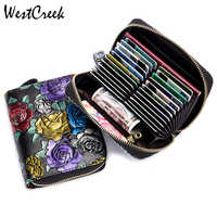 WESTCREEK Brand Women Leather RFID Zipper Credit Card Holder Organizer Rose Embossed Passport Business Card Case Travel Wallets
