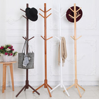 9 Hooks Solid Wooden Clothes Rack Coat Rack Racks Creative Furniture Clothes Racks Wooden Hangers Round Sticks Clothes Shelf
