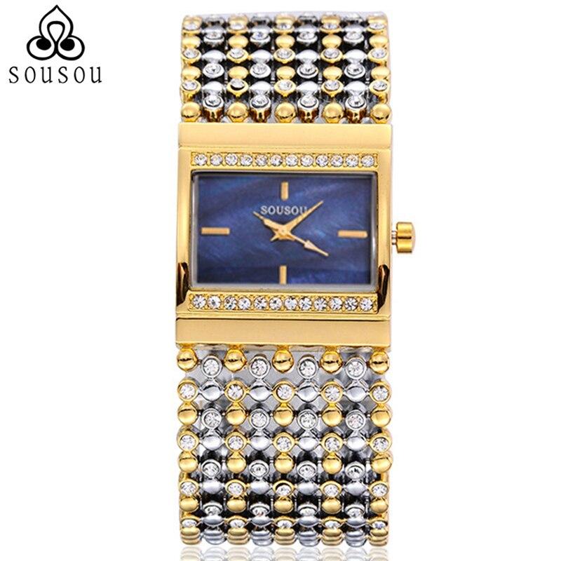 Prix pour SouSou Marque Bracelet Montres Big Montre En Or Femmes Hodinky Robe Montres Femme Montre-Bracelet Reloj Mujer Marcas Montre Femme