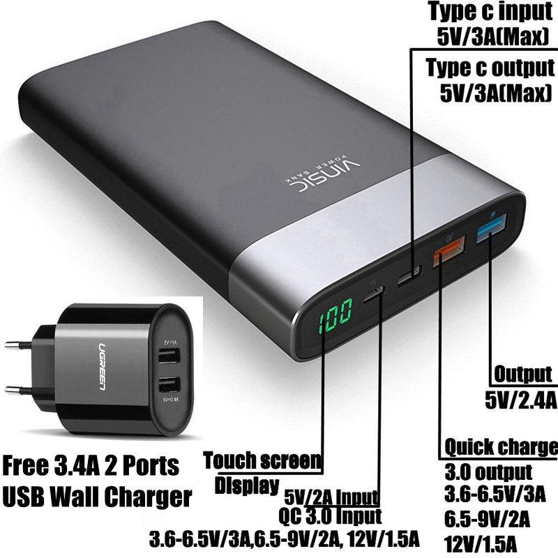 Vinsic Quick Charge 3 0 20000mah Power Bank QC 3 0 Type C With 3 4A