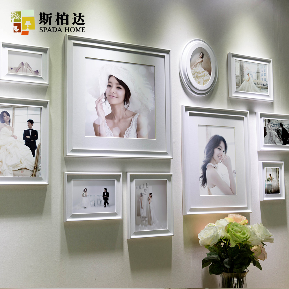 White Classic Wall Wood Photo Frame Sets Romantic for Wedding ...
