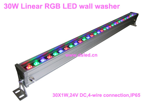 IP65,CE,good quality, high power 30W Linear RGB LED wall washer,Linear 30W RGB LED bar light,30*1W,24VDC,DS-T76-100cm-30W-RGB, 24v 100 cm linear bar 60w rgb led wall washer light fcc saa ce