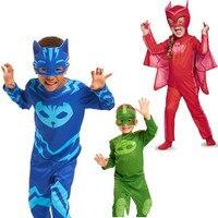 PJ Birthdays Cosplay Costume Kids Second Skin Tight Suit Spandex Kids Catboy Owlette Gekko Cape Halloween