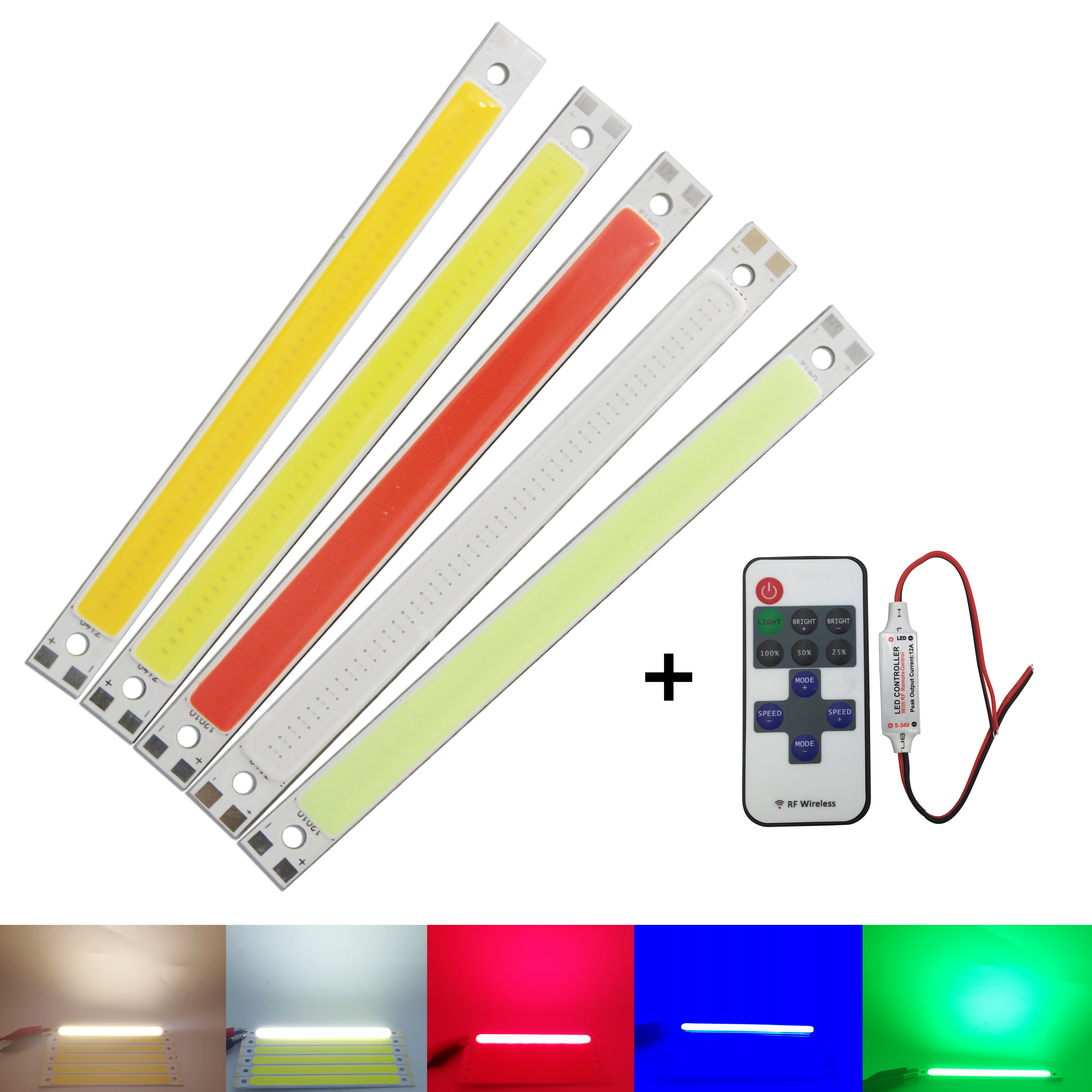 10W 12V DC Dimmable Wiht RF Remmote Controller 120x10mm COB LED Light Source Warm White Blue Red Green For DIY Auto Strip Lamp