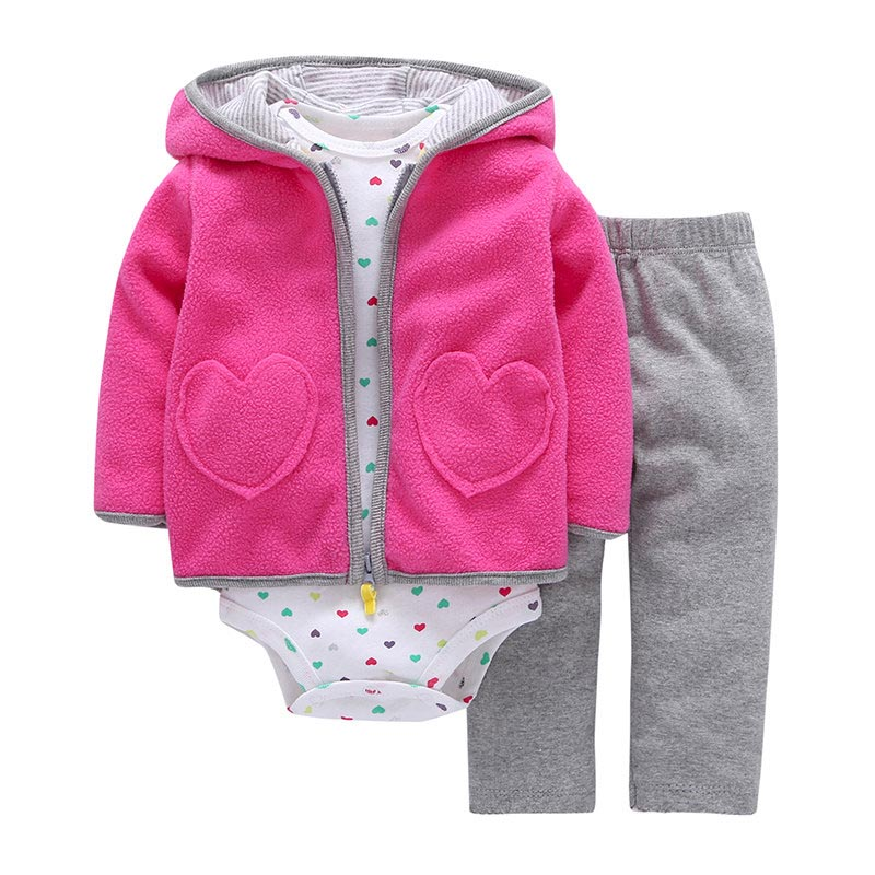 2018 New Spring Autumn 3pcs Baby Clothing Set of Hooded Cotton Coat Bodysuit Vest and Pants, Baby Girl Clothes Children Clothing