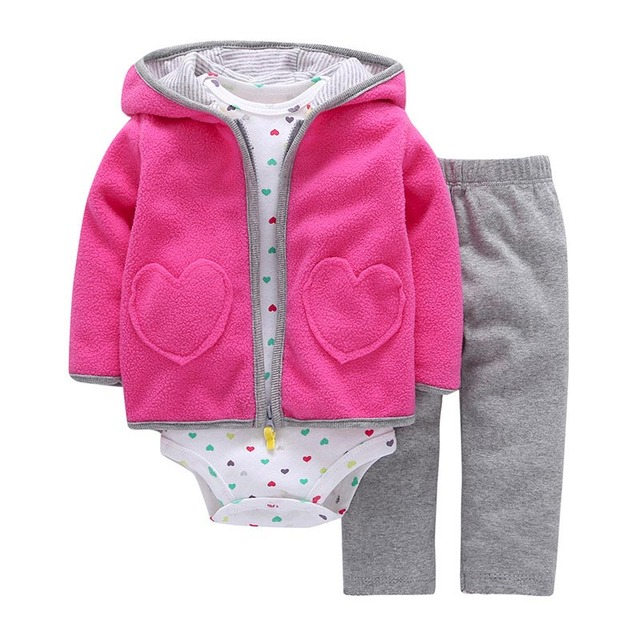 2019 New Spring Autumn 3pcs Baby Clothing Set of Hooded Cotton Coat Bodysuit Vest and Pants, Baby Girl Clothes Children Clothing