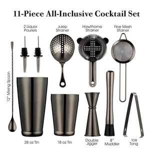Cocktail-Strainer-Set Spoon Shakers Muddler Pourer Jigger Boston 2-Bottle Shaker-Bar-Set:2-Weighted