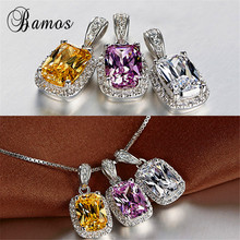 Bamos Luxury Pink/White/Yellow/Purple Square Zircon Pendant
