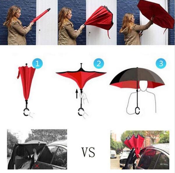 Windproof Reverse Folding Double Layer inverted car Umbrella Self Stand upside down women's rain umbrella c handle drop shipping