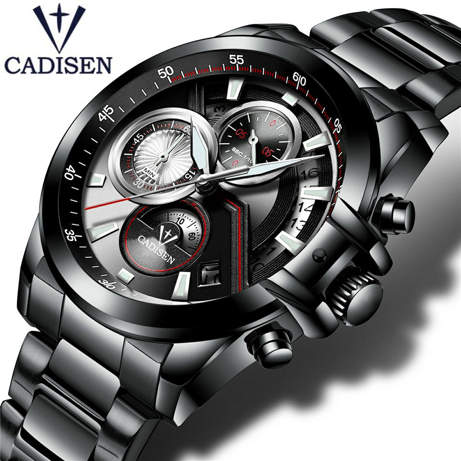 New 2018 CADISEN Brand Business Watch Men casual Fashion Quartz watch Men sports waterproof military stainless steel watch clock weide new men quartz casual watch army military sports watch waterproof back light men watches alarm clock multiple time zone