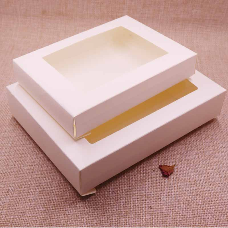 Gift Bags & Wrapping Supplies Vintage/ivory Box Kraft Paper Gift Box Package With Clear Pvc Window Candy Favors Arts&krafts Display Package Box 10pcs Professional Design