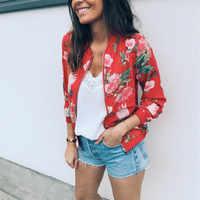 8 Colors Women Jackets Flower Floral Print Retro Ladies Zipper Up Short Thin Slim Bomber Jacket Coats Basic Casual Outerwear