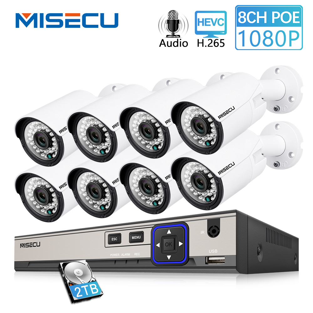 MISECU 8CH 1080 P cámara de CCTV sistema de registro de Audio 2MP bala cámara IP PoE impermeable al aire libre visión en noche y con Video de vigilancia kit de