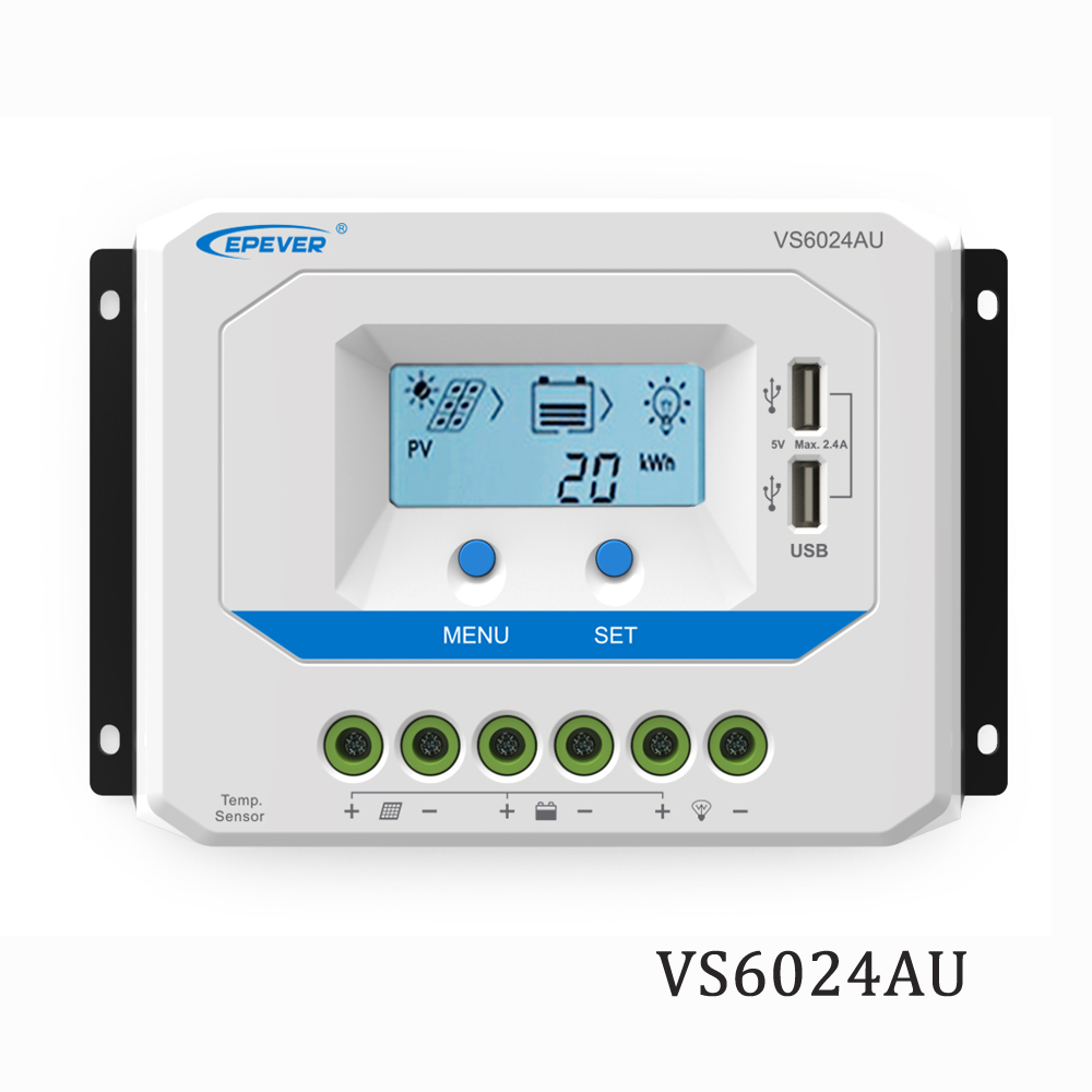 60A VS6024AU 12 V 24 V EPSolar PWM chargeur de panneau solaire batterie LCD rétro-éclairage 5 V chargeur de téléphone portable