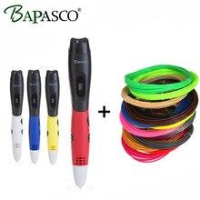 BAPASCO 06B 3D Pen+100 Meter(20 Color) ABS Filaments 3D Doodle Pen For Kids Intelligence Education Tool Pen 3D Oled Screen 5V/2A