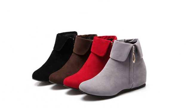 1a4aa81881f8 Large Size 34-47 Fashion Height Increasing Women Short Boots Comfortable  Tassel Matte Side Zip Shoes Woman Ankle Boots 4 Colors