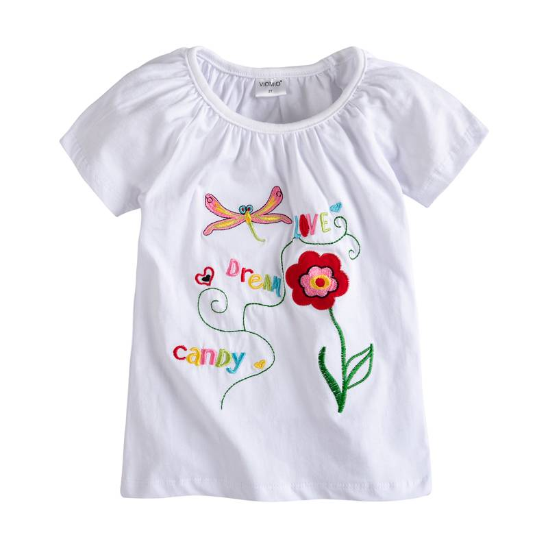 VIDMID baby Girl t-shirt big Girls tees t shirts children blouse t-shirts super quality kids summer clothes design 2-10 years цена